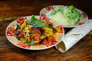 Gemüse, Salat, Käse, Tortilla
