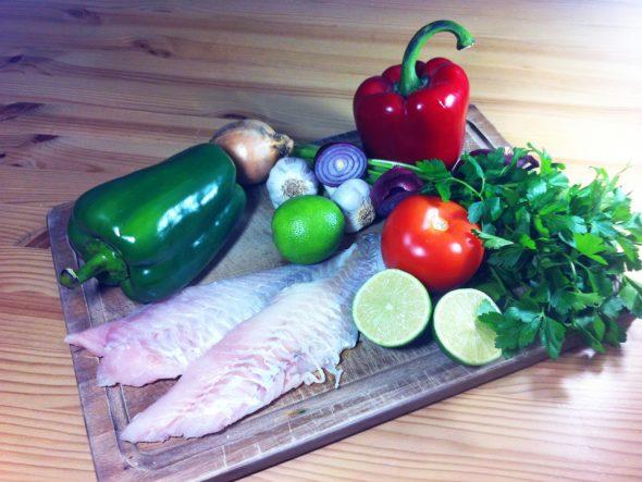 Zutaten für brasilianischen Fischeintopf