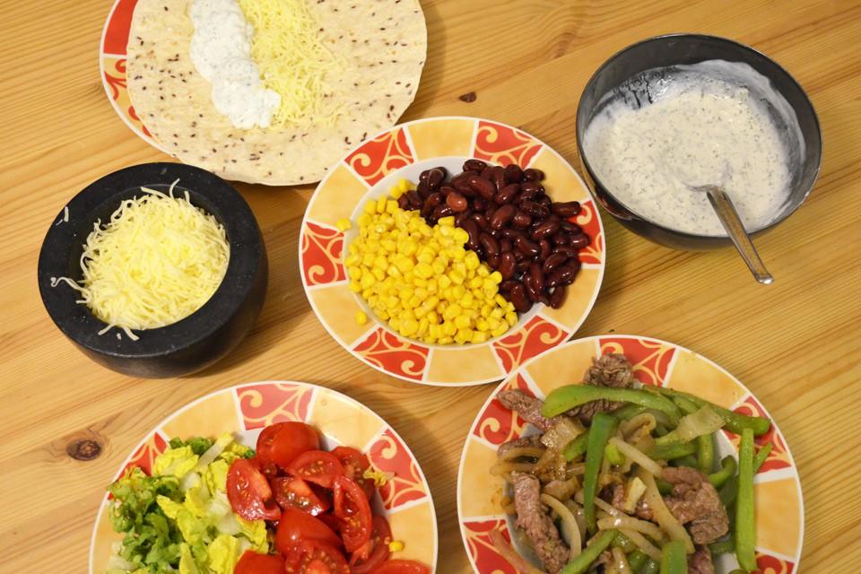 Vorbereitung für's Burrito-Rollen