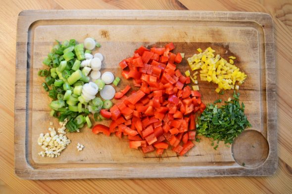 Quesadillas-Zutaten geschnitten