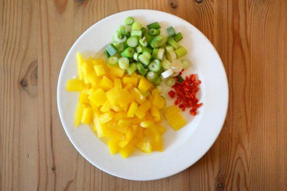 Mexikanische Tacos – Geschnittenes Gemüse