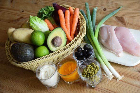Zutaten für Peruanische Causa Rellena mit Hühnchen